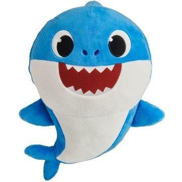 Baby Shark zenélő plüssfigura: kék apa cápa