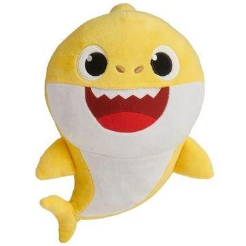 Baby Shark: zenélő plüssfigura - Sárga bébi cápa