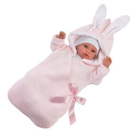 Llorens újszülött síró lány baba nyuszis pólyával 36cm-es