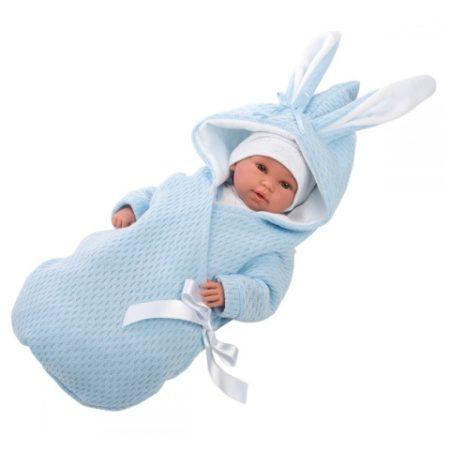 Llorens újszülött síró fiú baba pólyában 36cm-es