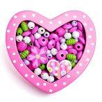 Rózsaszín szív kis fa gyöngyfűző szett