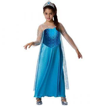 Jégvarázs Frozen Elsa jelmez koronával - 128 cm